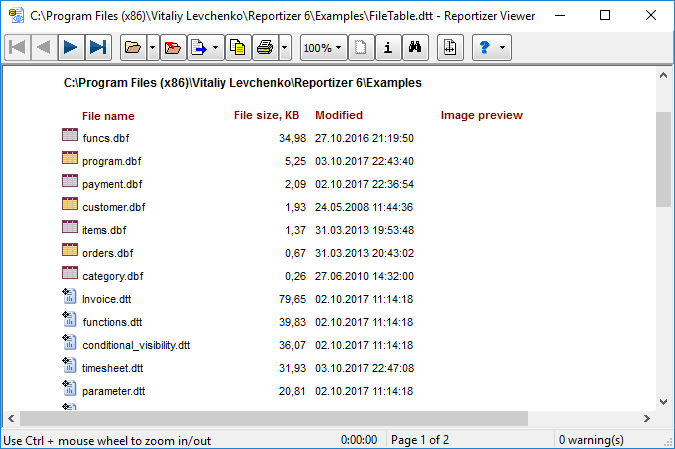 File Report in Reportizer Viewer
